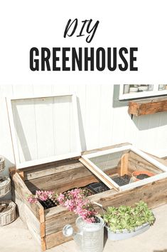 Get you garden started right with an easy DIY small greenhouse to protect seedlings from upredictabe weather and garden pests. Made with reclaimed windows. Diy Garden Furniture, Diy Outdoor Furniture, Deck Furniture, Diy Small Greenhouse, Window Greenhouse, Homemade Greenhouse, Vegetable Garden Design, Veg Garden, Diy Chicken Coop