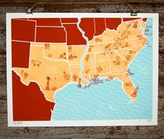 a map of the south. love this. ( people from the pacific northwest just don't understand how great the south is.)