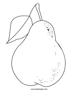 Disegno pera - TuttoDisegni.com Food Coloring, Coloring Books, Coloring Pages, Embroidery Applique, Embroidery Patterns, Fall Crafts, Crafts For Kids, Paper Fruit, Art Drawings For Kids