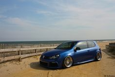 Soaking up the sand and sun. Volkswagen Golf on Rotiform DUS wheels. Volkswagen Golf R, Vw, Mk6 Gti, Car In The World, Custom Cars, Cool Cars, Dream Cars, Automobile, Wheels