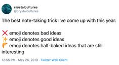 Marketplace Of Ideas, Good Notes, Note Taking, Twitter Web, Emoji, Good Things, Taking Notes, The Emoji, Emoticon