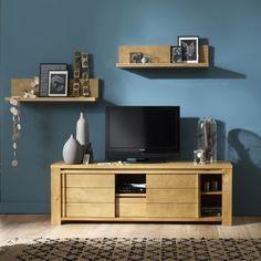 Meuble banc TV 2 portes coulissantes 1 tiroir 1 niche BALTIC teinté teck ou laqué taupe