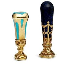Two Gold-Mounted Hardstone Desk Seals | MARKS OF SAMUEL ARNDT, ST PETERSBURG, MID-TO-LATE 19TH CENTURY | Christies