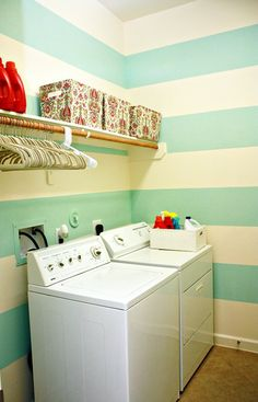 Laundry room - stripes?  Simply white and either tan, blue from living room or yellow?