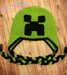 Crochet Minecraft Hat by YarnCreationsGalore on Etsy
