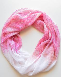 "#Trades of Hope #Fairtrade #Scarves - Support Breast Cancer Awareness with this lightweight pink and white  paisley printed infinity scarf.     Measurements: L 74""3/4 x W 13""3/8   Material: Polyester   Color: Pink, white & peach"