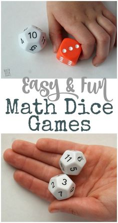 Looking for a new, but super easy and low prep way to practice math facts with your kids? Grab a set of dice and you're ready to play! Playing math dice games can help kids practice in a way that is fun, and less intimidating. Learn 6 different variations Easy Math Games, Math Activities, Math Games With Dice, Learning Games, Mental Maths Games, Mental Math Strategies, Kindergarten Math Games, Classroom Games, Math Worksheets