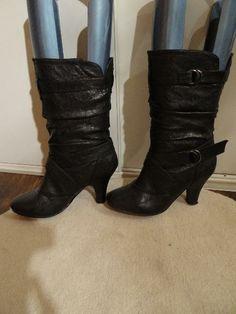 schwarze stiefel stiefeletten mit schnallen gr 37 kiez damen schuhe pinterest stiefel. Black Bedroom Furniture Sets. Home Design Ideas