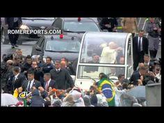 El Papa Francisco llega al Santuario de Nuestra Señora de Aparecida en Brasil - YouTube