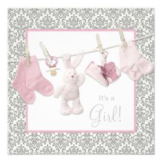 Pink Clothesline Baby Girl Shower Custom Announcements