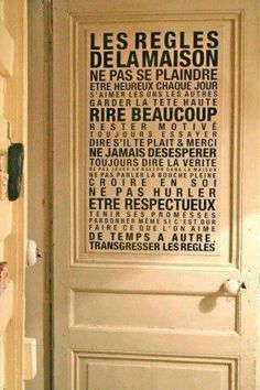 règles de la maison - can adapt for the classroom Carpe Diem, House Rules, Life Rules, Home And Deco, Home Living, Living Room, Decir No, Sweet Home, New Homes