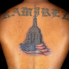 "Empire State Building from Episode 11′s ""Spines"" challenge Tattoo by Ink Master Jason Clay Dunn #InkedMagazine #tattoo #tattoos #flag #empirestate #building #inked #ink #art"