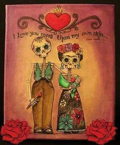 Frida Kahlo y Diego Rivera Diego Rivera, Frida E Diego, Frida Art, Los Muertos Tattoo, Love You More, My Love, Catrina Tattoo, Frida Tattoo, Sugar Skull Art