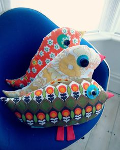 three tweetie cushions made by Modflowers