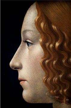 """"""" Portrait of Giovanna Tornabuoni (née Giovanna degli Albizzi) (detail), 1488, Domenico Bigordi o Domenico Curradi, más conocido por el apodo Ghirlandaio fue un pintor renacentista en su taller se formaron muchos pintores como Miguel Angel (1449, Florencia - 11 de enero de 1494, Florencia, Italia."""