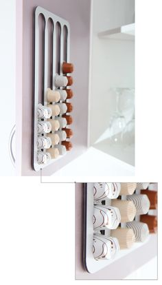 The Abacus Pod Rack is a wall mounted kitchen accessory that holds and dispenses Nespresso Coffee Capsules.
