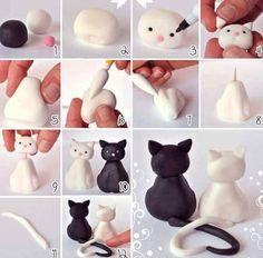 Wonderful Clay Art Ideas - Zukünftige Projekte - Healt and fitness Polymer Clay Cat, Polymer Clay Projects, Diy Clay, Handmade Polymer Clay, Cat Fondant, Fondant Girl, Clay Cats, Fondant Tutorial, Cute Clay
