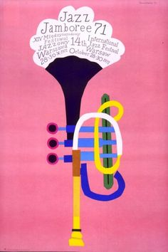 I think this is a cool jazz jamboree advertisement, Its a cool jazzy looking trumpet withe the information coming out the top.