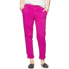 Broken-in khakis by GAP magenta -6 Essential khaki pant in highlighter yellow! Stand out for summertime! Sits below the waist. Easy through the hip and thigh for a relaxed, casual look. Straight leg. Button closure. In great condition! The first and last pictures are the best representations color. GAP Pants Ankle & Cropped