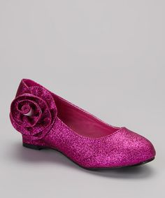 Fuchsia Glitter Rosette Barby Wedge by Ruby Shoes. For the girls!!