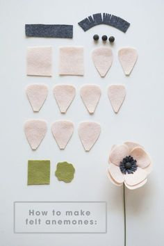 how to make a simple and beautiful felt anemone flower! All the petals you will need to make a darling felt anemone!All the petals you will need to make a darling felt anemone! Handmade Flowers, Diy Flowers, Fabric Flowers, Paper Flowers, Felt Flowers Patterns, Origami Flowers, Fleurs Diy, Anemone Flower, Flower Petals