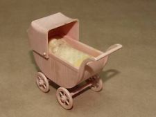 Vtg A Renwal No 115 Pink Celluloid Miniature Doll House Toy Baby Stroller Buggy