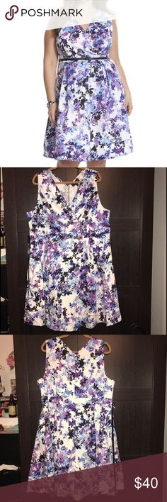 "Lane Bryant Floral Dress Approx measurements: Length 40"" , Armpit to armpit 21"". Excellent Condition! Size 22- Lane Bryant. Never worn. Beautiful shades of Purple in this dress. Lane Bryant Dresses"