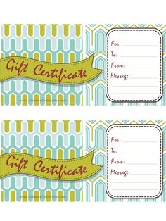gift certificate template with blue and green background with green ribbon