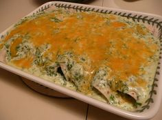 Spinach Enchiladas - rave reviews, vegitarian - apparantly they are from Jalapenos ( a mexican restaurant in houston - one of the most popular items on the menu?) - sounds facinating - might have to try!