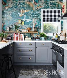 Fairytale-like Zoffany wallpaper steals the show in this Ikea kitchen makeover. Ikea Kitchen, Kitchen Dining, Kitchen Decor, Funky Kitchen, Whimsical Kitchen, Eclectic Kitchen, Eclectic Style, Kitchen Wall Paper Ideas, Colorful Kitchen Cabinets