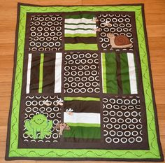 Full 10 Piece Cute, Green Frog Design Baby Crib Bedding by DK Leigh