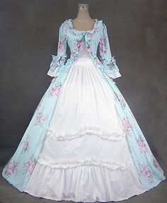 Southern Belle Civil War Victorian Style Dress Ruffles Trim Hoop Dress Pretty