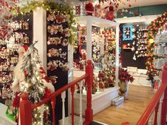 Buying ornaments in a store called Just Christmas in Niagara on the Lake...