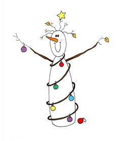 christmas doodles Snowman with lights Christmas Doodles, Diy Christmas Cards, Xmas Cards, Christmas Crafts, Christmas Decorations, Christmas Ornaments, Christmas Clipart, Christmas Snowman, Watercolor Christmas Cards