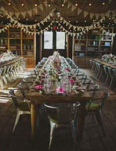 rustic reception with bunting