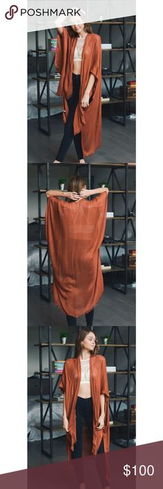 """Coming! 💞 Frayed trim kimono * Brand new with boutique tags * Material: 100% Viscose * Dimensions: 43""""x42"""" high low  * Color: Rust * 10% off bundles of 2 items!  Like this listing to be notified when they're up for sale and the price drops! Other"""
