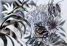 Massimiliano Fabbri / Sonno cadute ritrovamenti / 2013, collage, grafite, carboncino, china, penna biro, pennarelli e bomboletta spray su carta, cm 50x70