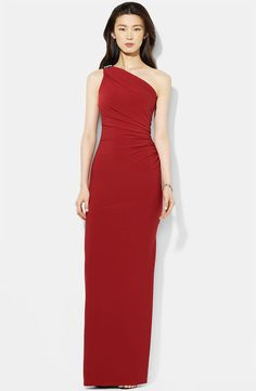One Shoulder Red Long Jersey Dress