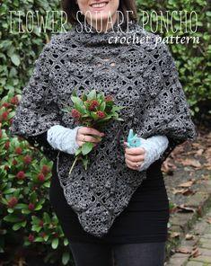 Ladies Poncho - free crochet pattern in English and Dutch by Maaike van Koert / creJJtion. Made up of square motifs. Cute Crochet, Beautiful Crochet, Knit Crochet, Crochet Ideas, Crochet Projects, Crochet Poncho Patterns, Crochet Shawls And Wraps, Poncho Shawl, Knitted Poncho