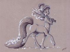 "briannacherrygarcia: "" Fantasia Centaurette. Ink, copic marker, and gel pen on toned paper. """