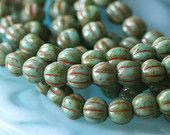 5mm Melon Bead - Czech Glass Round Beads Turquoise Picasso  (50 beads) 9 Inch Strand