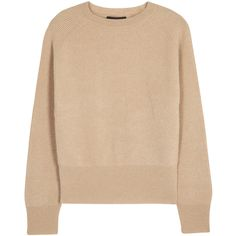 THE ROW Lenni sand ribbed camel hair jumper found on Polyvore featuring tops, sweaters, ribbed sweater, beige sweater, rib sweater, rib top and camel hair sweater