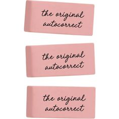 The Original Autocorrect Set of 3 Erasers Classic Pink Erasers Funny... ($6) ❤ liked on Polyvore featuring home, home decor, office accessories, home & living, office, office & school supplies, silver, pink office accessories, pink office supplies and pink eraser