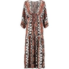 Tart Collections - Camellia Printed Crepe De Chine Maxi Dress featuring polyvore women's fashion clothing dresses brown stripe maxi skirt mini dress brown maxi skirt draped maxi dresses brown maxi dress