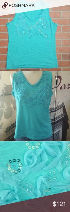 Teal tank top Beautiful flower and sequin accented tank top.  It is in amazing shape, no stains or holes!  BUNDLE AND SAVE MONEY ON SHIPPING!  I OFFER 20% OFF ANY 2 ITEMS OR MORE IN MY CLOSET! cable & sage Tops Tank Tops