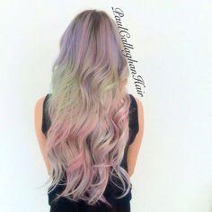 Opal Hair Color... (paul callaghan hair. sandart/tiedye colour placement using the schwarzkopf pearlesence range with olaplex and embeemeche. mermaid hair pearlescence pink hair extensions)