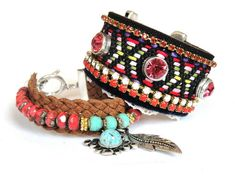 Bohemian hippie bracelet in ethnic navajo native american style - friendship cuff - rhinestones and studs - vintage trim