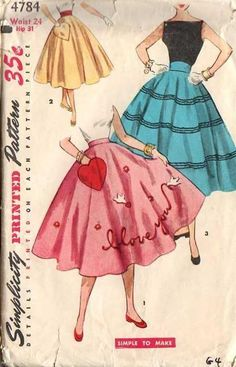 Vintage Simplicity 4784 I Love You Transfer with Heart Pocket Teen Age Circle Skirt Sewing Pattern Size Waist by on Etsy Skirt Patterns Sewing, Vintage Dress Patterns, Vintage Skirt, Clothing Patterns, Skirt Sewing, Vintage Outfits, Vintage Dresses, Vintage Fashion, Circle Skirt Pattern