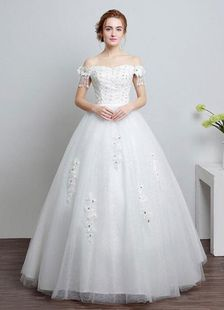 Ivory Wedding Dress Off The Shoulder Lace Ball Gown Beaded Floor Length Bridal Dress With Rhinestone Luxury Wedding Dress, Ivory Wedding, Tulle Wedding, Dream Wedding Dresses, Bridal Dresses, Wedding Gowns, Wedding Dresses Plus Size, Plus Size Wedding, Lace Ball Gowns