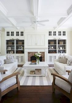 Just like the idea of 2 identical and parallel sofas with 2 chairs like this for living room. This room design isnot us though
